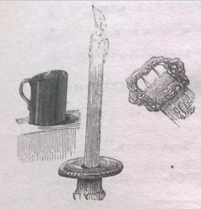 Кружка, чаша, свеча, пряжка