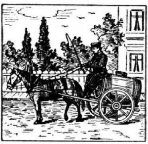 Лошадь, повозка, человек, извозчик, город