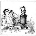 Мужчина, самовар, чаепитие