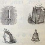 Часы, свеча, фонарь, замок, метла, мешок, колокольчик, щетка