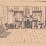 Комната, стулья, сундук, шкафчик, окна, картина