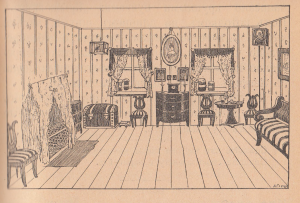 Комната, стулья, сундук, шкафчик, окна, картина, диван, икона, клетка